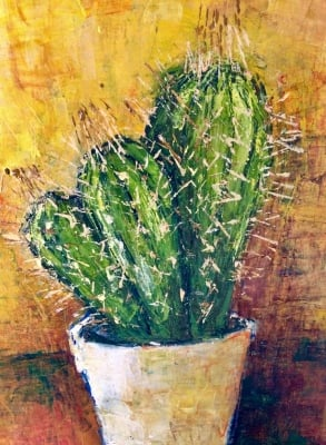 Cactus-oil painting A3 framed available now